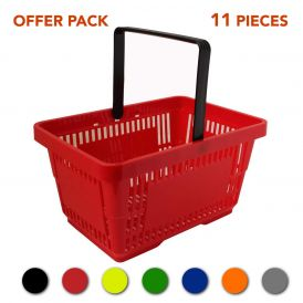 Plastic Shopping Baskets 28L x 11 - Offer Pack