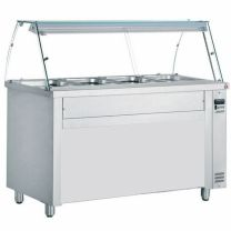 Hot Bain Marie 4ft Curved Glass Display Counter Epsom 115cm 3 Pot