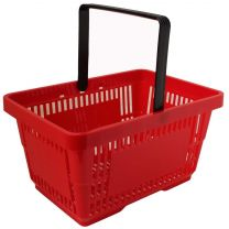 Red Plastic Shopping Baskets 28L